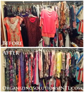 Pairing Down Clothes - hanging closet full of off season clothing before and after organizing