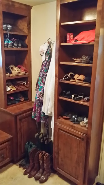Pairing Down Clothes - organized shoe cabinets after donating and storing off-season