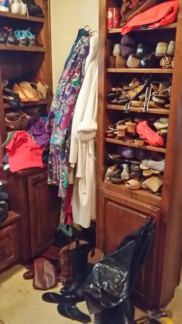 Pairing Down Clothes - shoe cabinets full of no longer used shoes