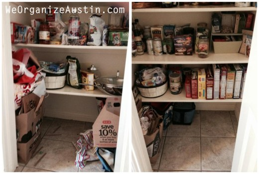 Organizing an Austin Kitchen - Organized Pantry Floor Before and After