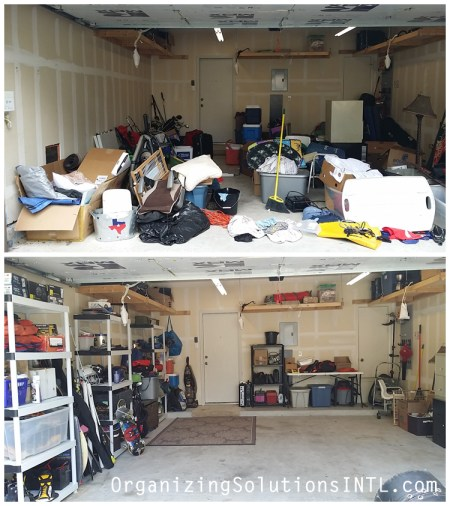 Un-Packing a Catch-All Garage - organized garage before and after left side