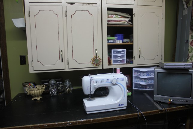 a craft room rediscovered - organized sewing counter