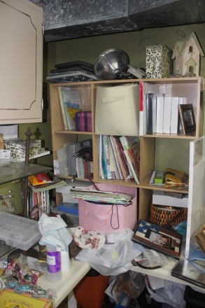 craft room rediscovered - half way to a cleared off work space