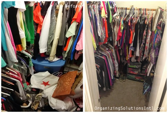From Closet Chaos to Closet Tidy -  Organized Closet Inside Before and After