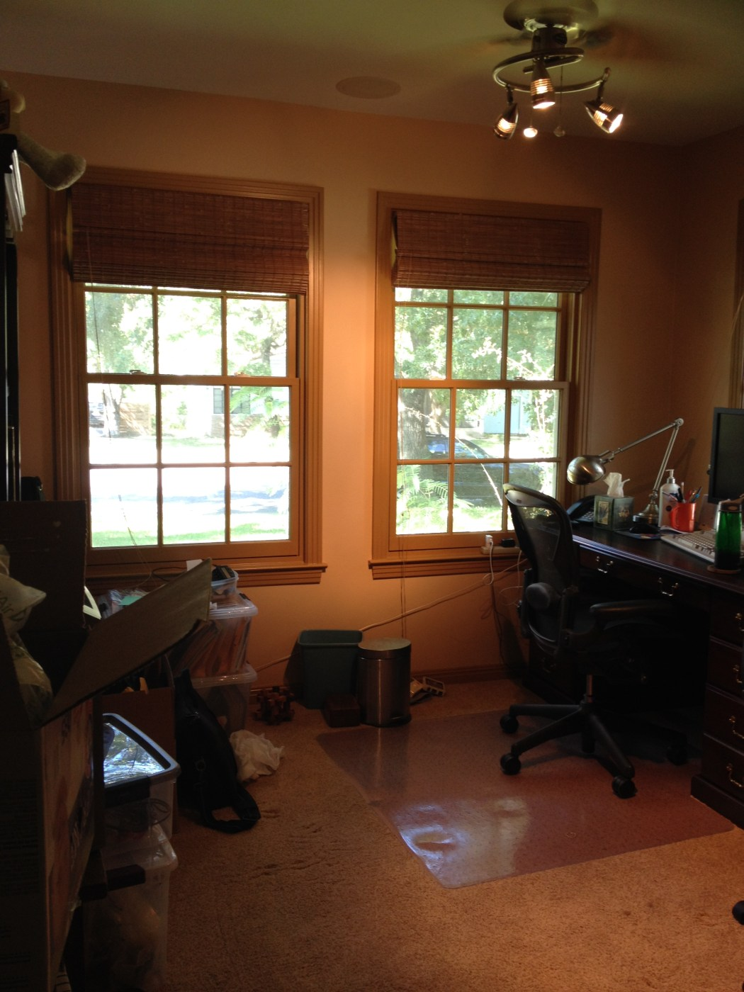 Purging Outdated Technology in a Home Office Closet - Cluttered Home Office Corner
