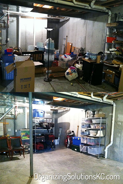 Organized Basement Storage - Before and After