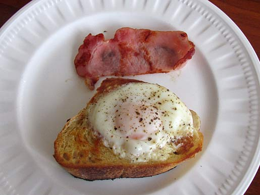 eggs cooked on a piece of sourdough toast