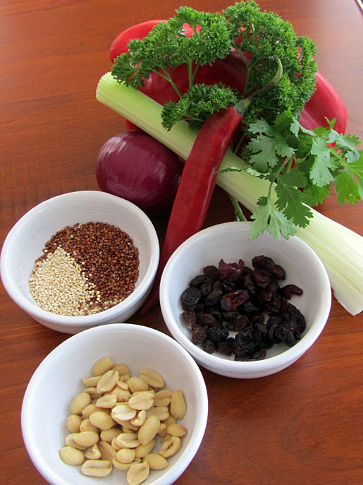 ingredients for curried quinoa salad