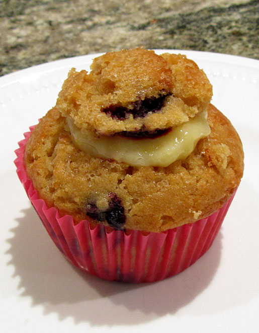 blueberry muffin stuffed with home made lemon curd