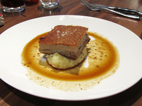 kurobuta twice cooked pork belly with colcannon potato and mustard jus