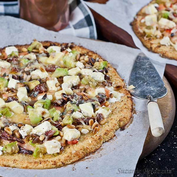 Salmon and Feta Pizza with cauliflower base