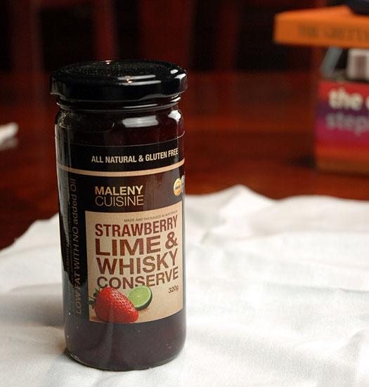 strawberry lime and whiskey conserve