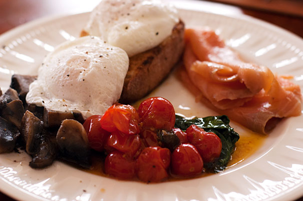 Australian breakfast with roasted tomatoe