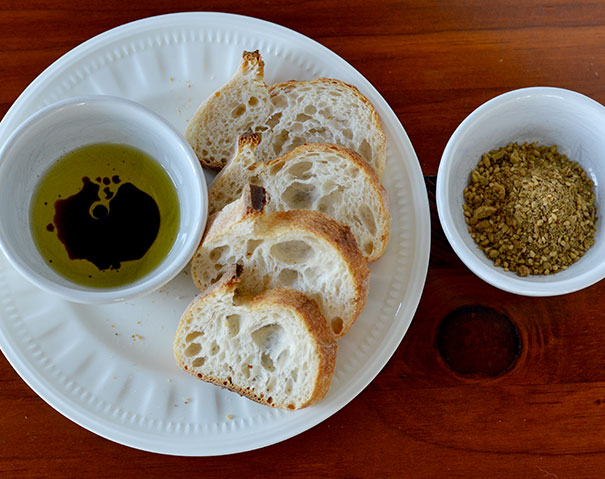 Sourdough, olive oil, balsamic vinegar and dukkah