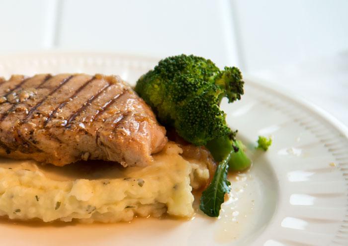 Boneless pork chop with cider sauce