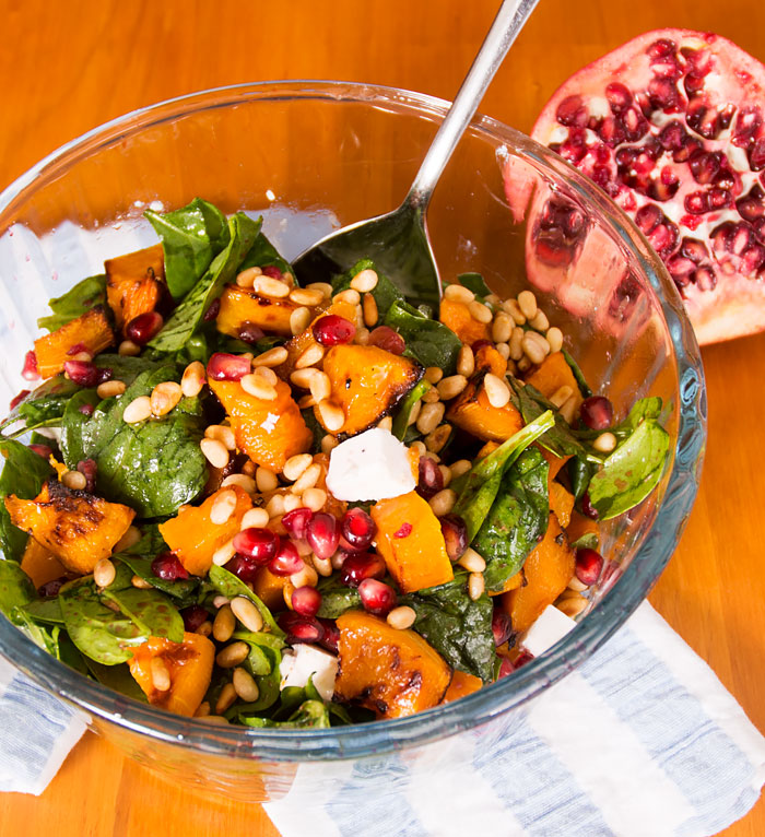 Spinach Salad with Roasted Butternut and Feta