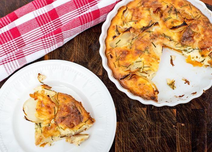 Butternut, onion and potato quiche