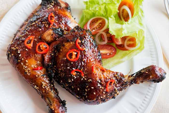 Chicken Maryland in a honey soy marinade.