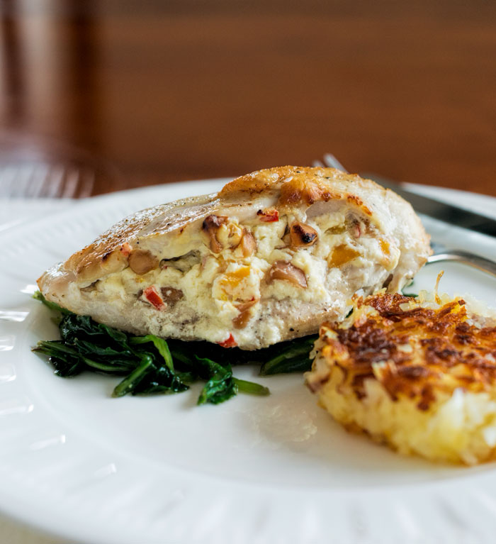Mango and macadamia nut stuffed chicken