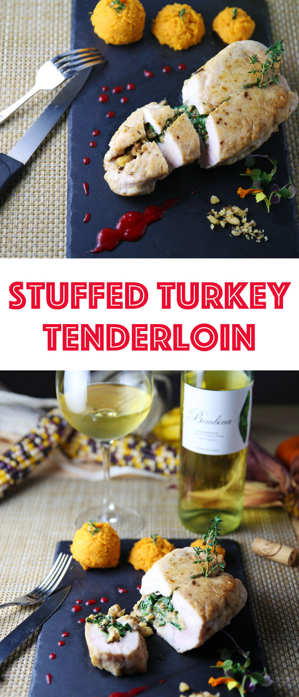 This Stuffed Turkey Tenderloin comes together in less than 30 minutes! It's so tender, juicy, and flavorful! Perfect for those smaller Holiday get togethers!