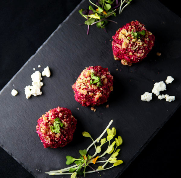 """Red Beets """"Rocher"""" is a healthy Vegetarian appetizer made with Beets, Goat Cheese, Walnuts, and fresh Mint. This is so delicious!"""