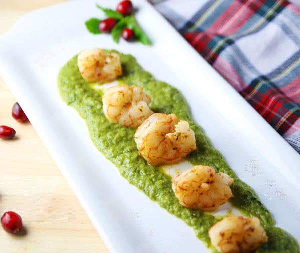This Sautéed Shrimp Over Mint Peas Puree is delicious as a meal or an appetizer!