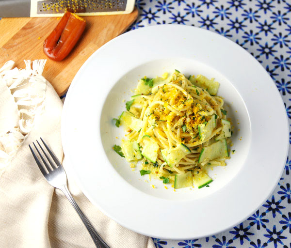 This Bucatini with Zucchini Lemon Zest and Bottarga comes together in 10 minutes and is loaded with flavor!
