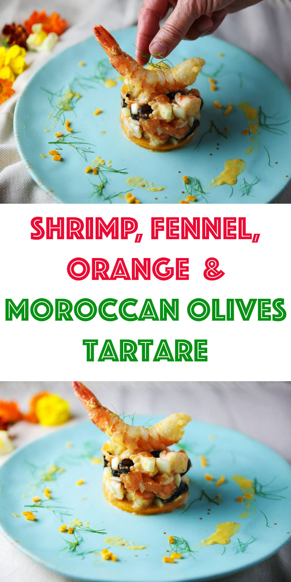 This Shrimp Fennel Orange and Moroccan Olives Tartare is a simple yet elegant appetizer to make that tastes unbelievably delicious! The combination of flavors in this dish is absolutely exquisite!