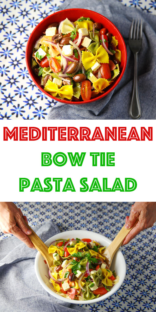 This Mediterranean Bow Tie Pasta Salad is super easy to make and loaded with flavor. This is definitely a crowd favorite!