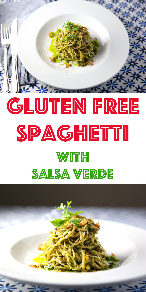 This Gluten Free Spaghetti with Salsa Verde is such a simple meal that is loaded with flavor! Perfect for those busy weeknights!