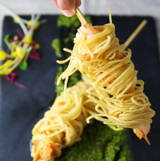 Deep Fried Shrimp Skewers Wrapped in Spaghetti (Gluten Free)