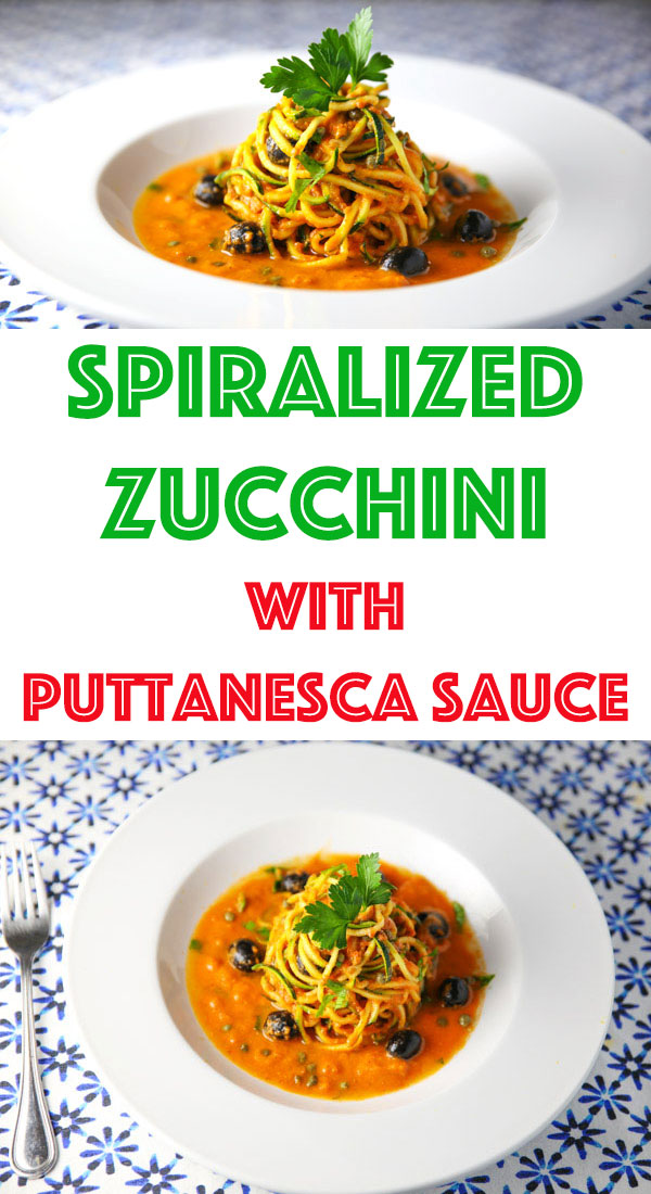 This Spiralized Zucchini with Puttanesca Sauce is so rich, savory, and full of flavor. This will be your new favorite easy weeknight meal to make!