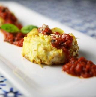 Yellow Squash Tortino with Ricotta and Tomato Sauce