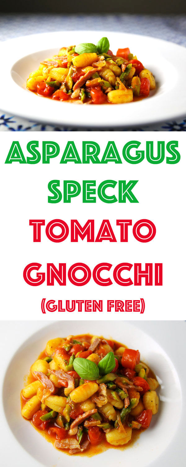 This Asparagus Speck Tomato Gnocchi (Gluten Free) is loaded with fresh and tasty ingredients. Perfect for a quick easy meal!