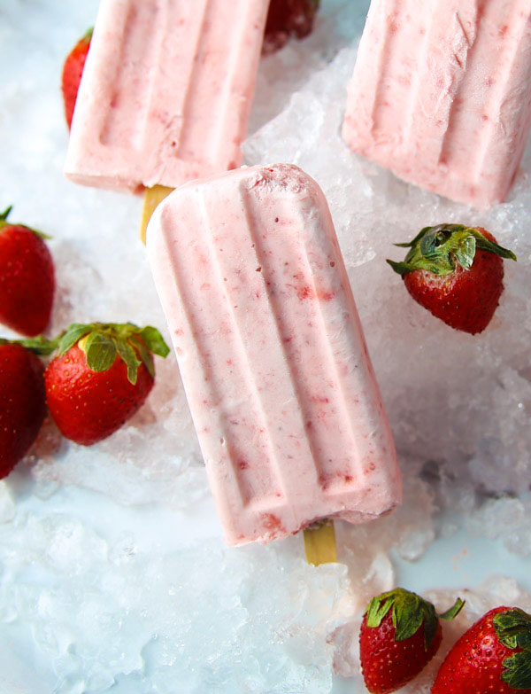 These Strawberry Limoncello Pops are a tasty adult treat, perfect on a hot summer day!