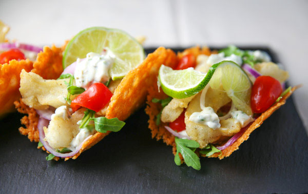 Putting a new spin on tacos with these Turbot Fish Parmos Tacos! The shells are made from Parmesan Cheese which blends the flavors of the fish and toppings just perfectly!