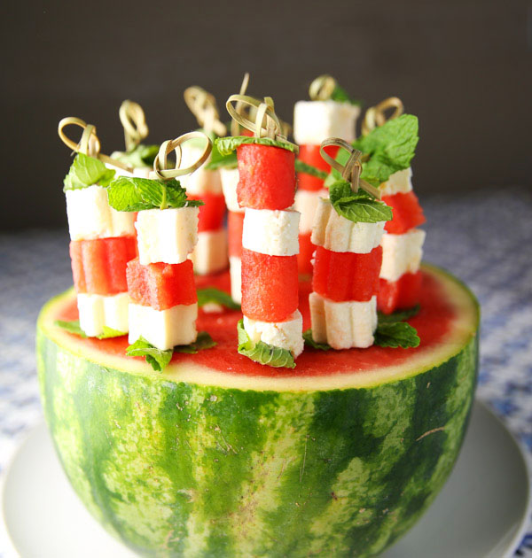 These Feta Mint Watermelon Skewers are sure to be a hit at any party! So light, refreshing, and delicious!