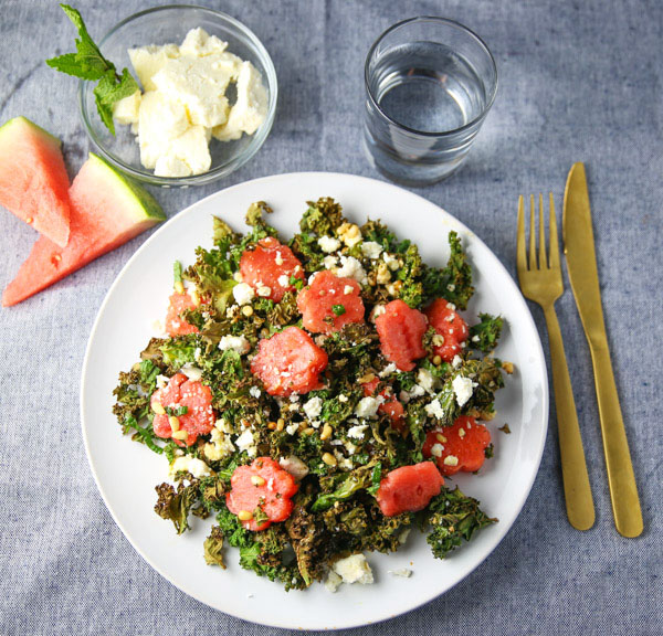 This Watermelon Feta Pine Nuts and Crispy Kale Salad is perfect for summer! It's so light, refreshing, and full of goodness!