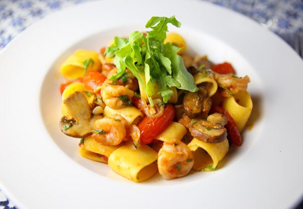 """Calamarata Terra E Mare meaning """"land and sea"""" is such an easy pasta dish to make. Loaded with Shrimp, Portobello Mushrooms, and seasonings! This will be your new favorite pasta dish!"""