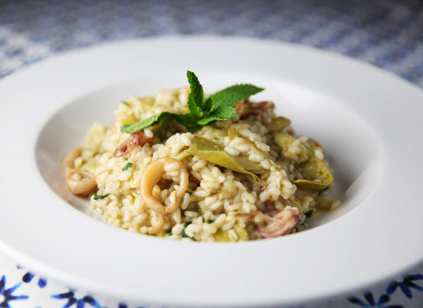 This Calamari Artichokes Mint and Pecorino Risotto has the perfect blend of flavors! This is so creamy, elegant, and indulgent!