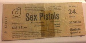 Ticket for the scheduled Sex Pistols Concert in Hamburg in 1978.