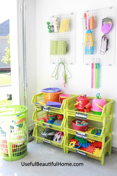 How to organize all those garage toys plus free printable labels at I'm an Organizing Junkie blog