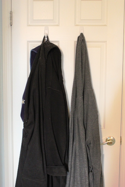 bathrobes on back of door