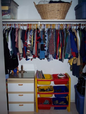 nightstand in the closet