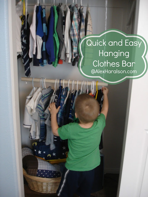 quick and easy hanging clothes bar