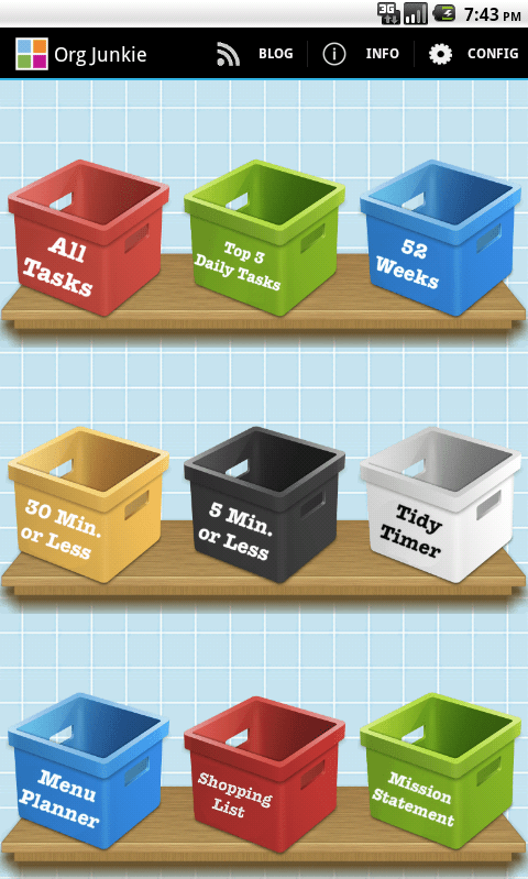 Check out the Organizing Junkie app availble for iTunes and Android