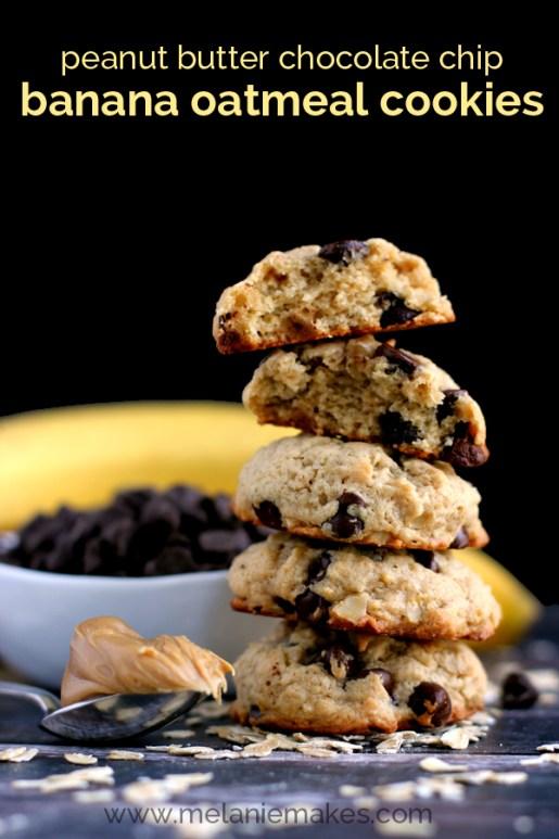 peanut butter chocolate chip banana oatmeal cookies recipe