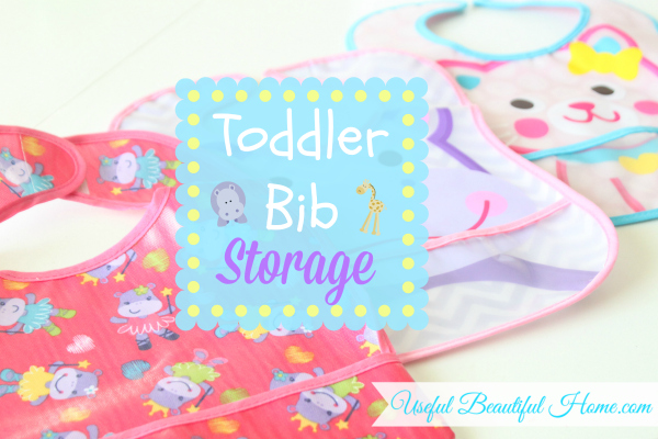 A creative way to store toddler's bibs in between meals!