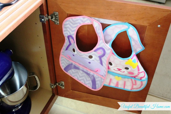 How to organize toddler bibs behind closed doors using Velcro!