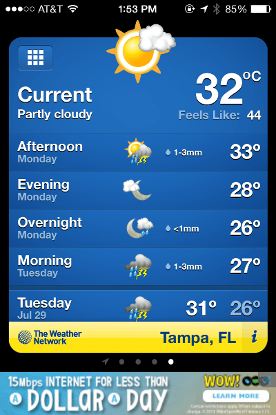 Florida temps